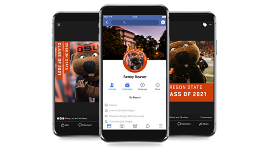 Three mockups showing how the Class of 2021 Frames look on Facebook