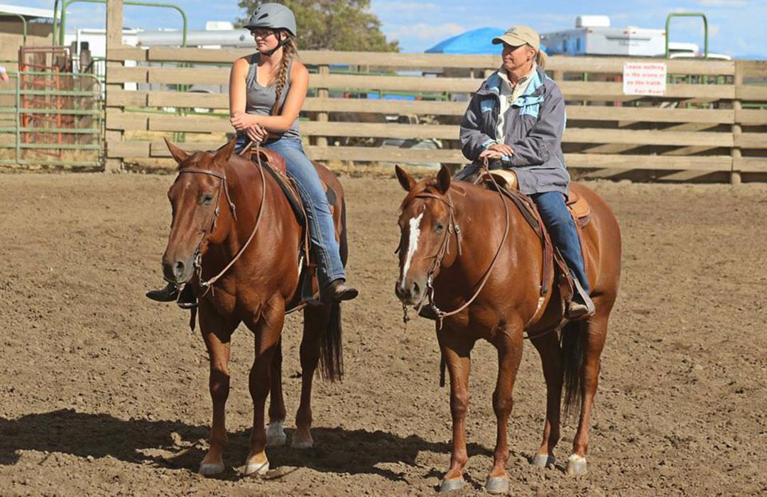 Prema Nissinen riding horses at county fair