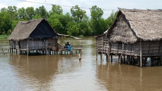 Houses stilted above water near Cotonou