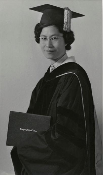 black and white image of Chung Kwai Lui in her graduation gown