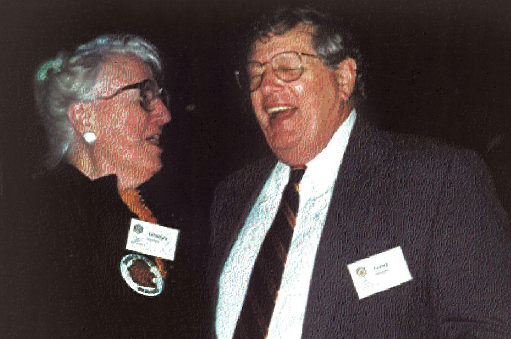 1990s picture of Fred Horne laughing with Gladys Valley