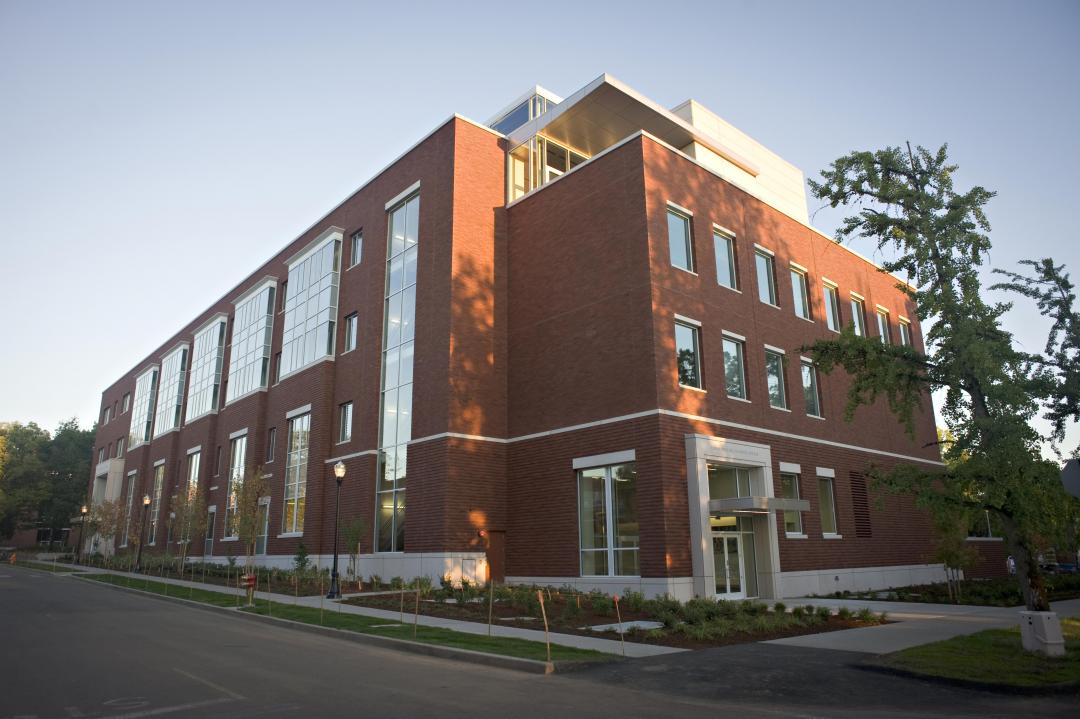 Low angle view of the Linus Pauling Science Center