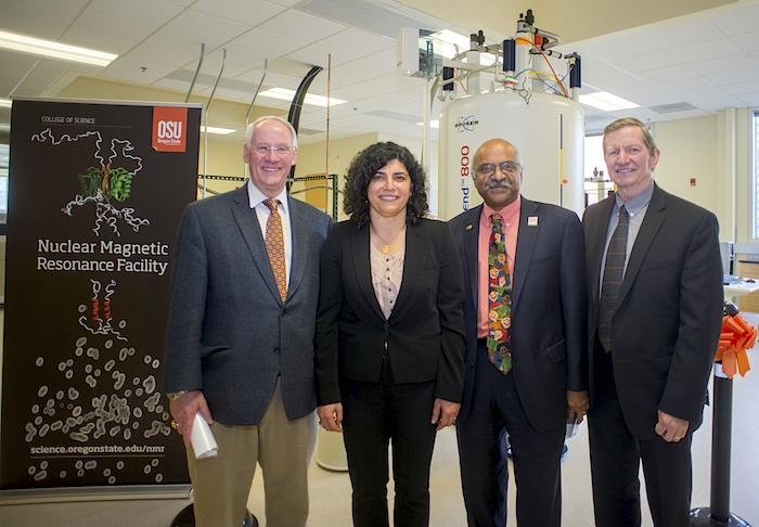 NMR ribbon cutting with Ed Ray, Elisar Barbar, Sastry Pantula and Ron Adams