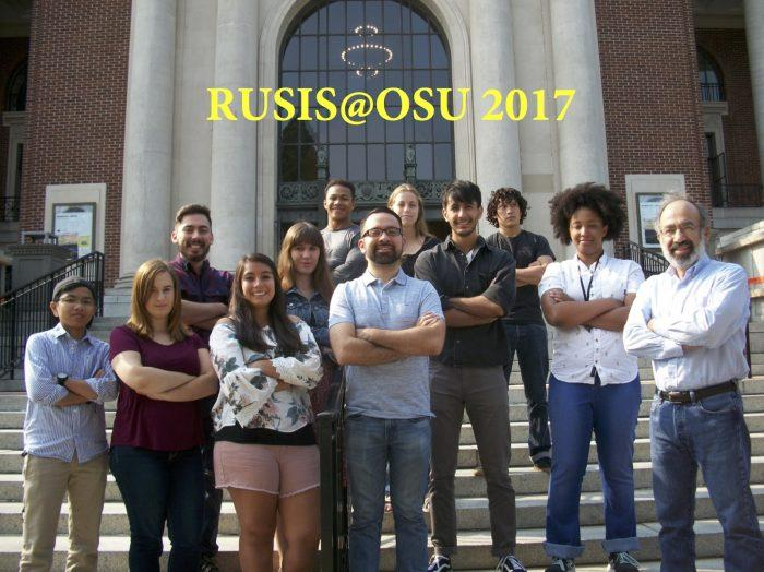 Javier Rojo with RUSIS group in front of the Memorial Union