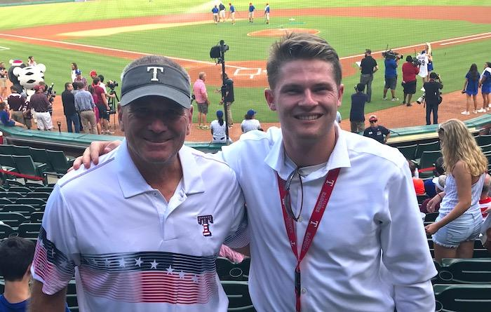 Morgan Pearson at Texas Rangers game