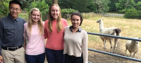 Aaron Huang, Ellen Kulinksy, Betsy Hensel and Shelby Taylor standing with a sheep and llama