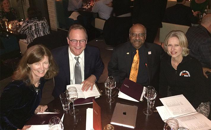 Janet, Rusty, Sastry, and Ruth at dinner