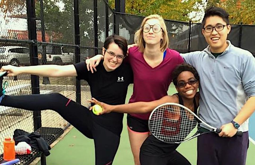 Yuriyah playing tennis with her friends