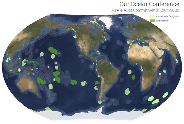 World map of protected ocean areas