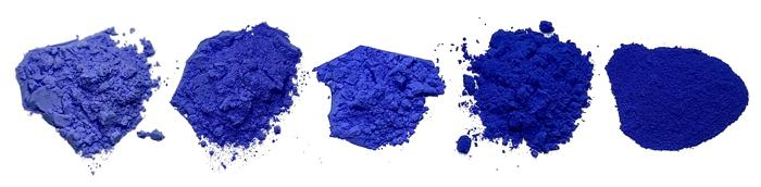 Blue pigments with increasing Cobalt content from left to right