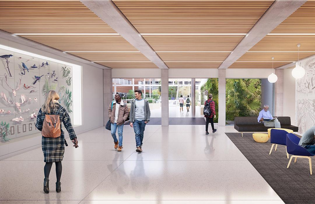 A rendering of the future lobby in Cordley Hall