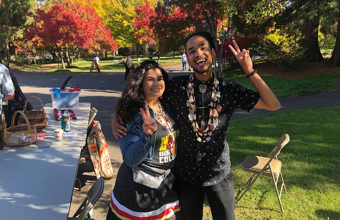 Oregon State zoology senior with fellow Siletz Indian Tribe member