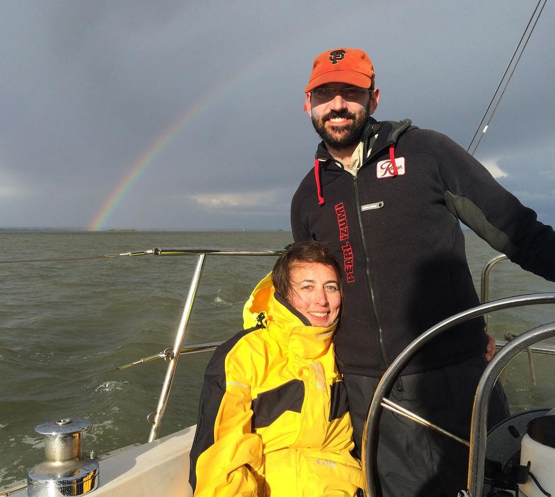 Maude David and Kenton Hokanson in boat on the ocean