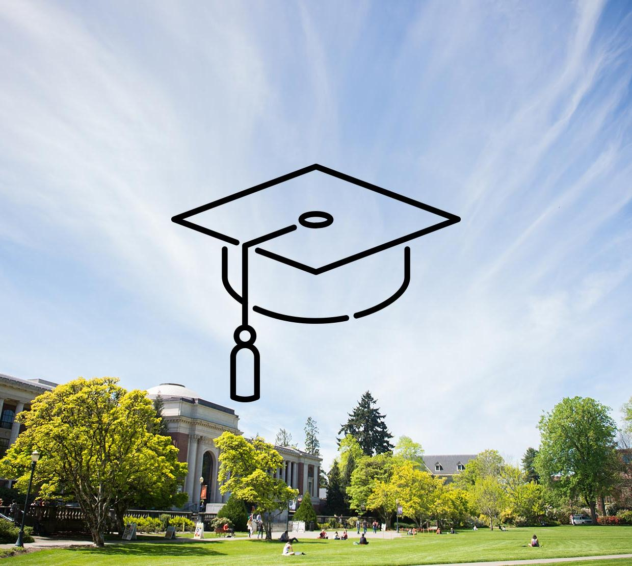Graduation cap icon above Memorial Union on a sunny day