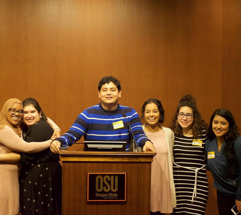 STEM leaders up on the podium
