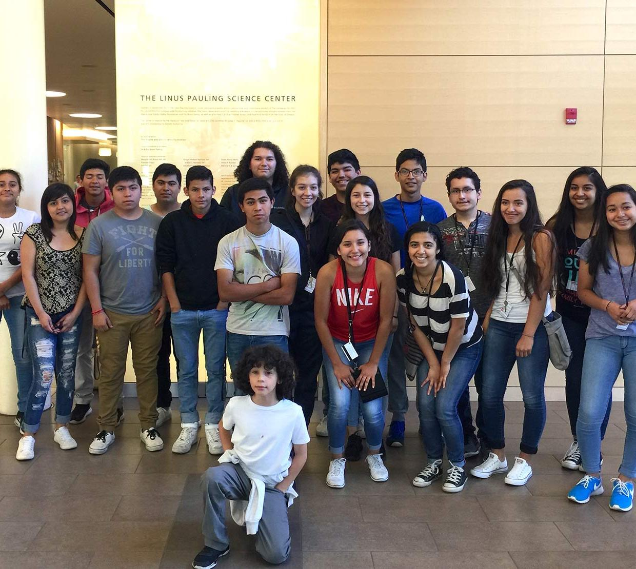 group photo of Juntos campers in Linus Pauling