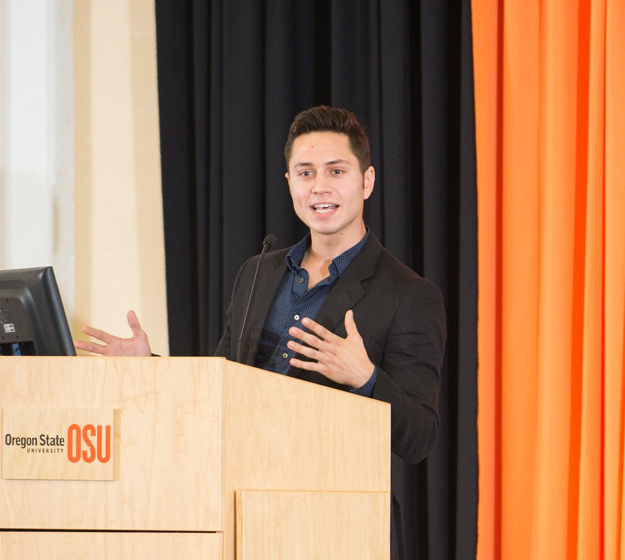 Jackson Dougan giving lecture on OSU's campus