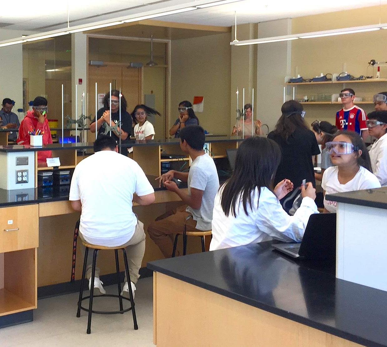 camp goers working in Chemistry lab