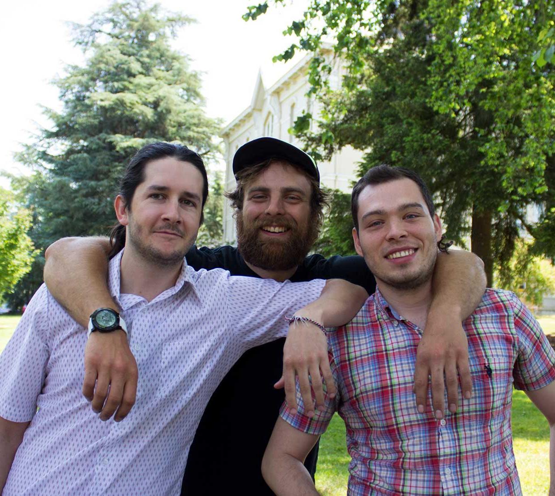 Will Mayfield, Andrew Jensen and Sebastián Naranjo Álvarez hanging out on OSU campus