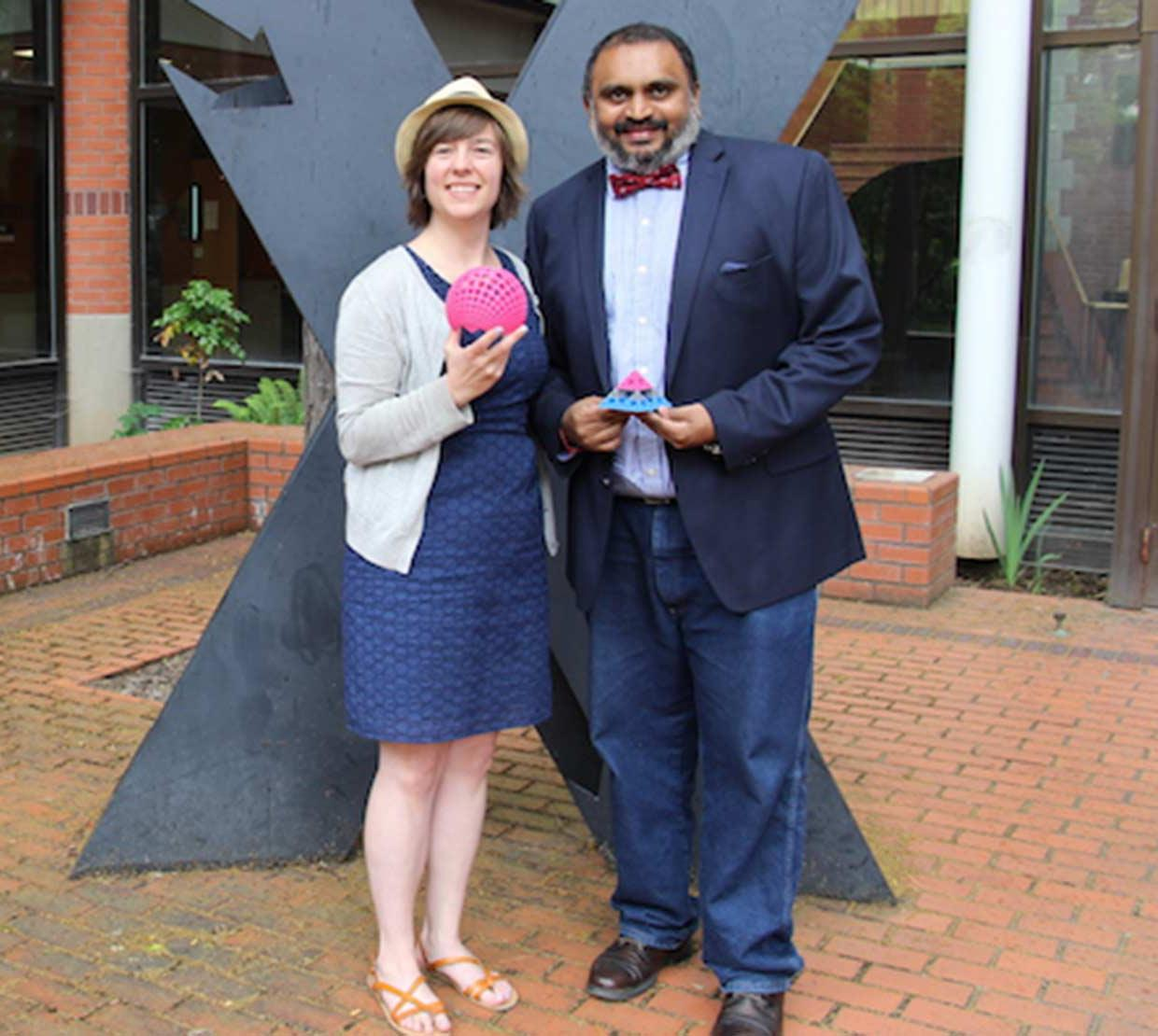 Naveen and Sarah in front of Owen Hall