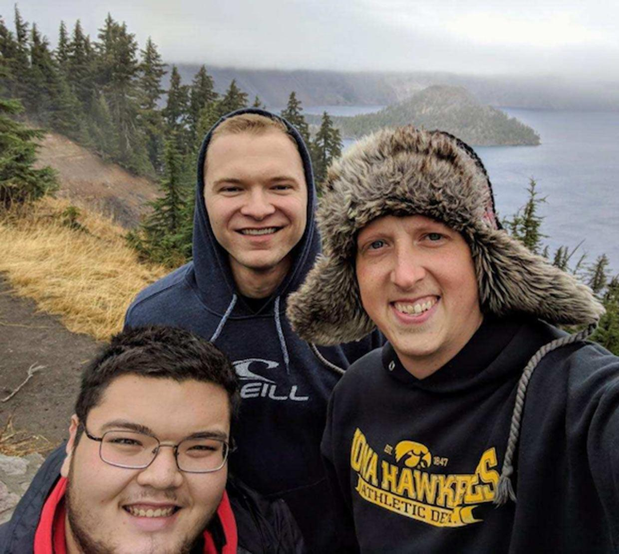 Cooper Lee Stateler with buddies above Crater Lake