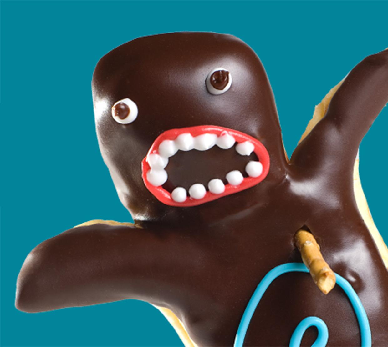 Voodoo doughnut shaped like human