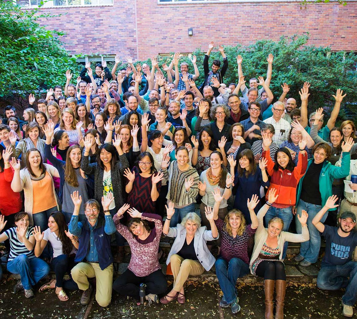 zoology department group photo outside of Gleason Hall