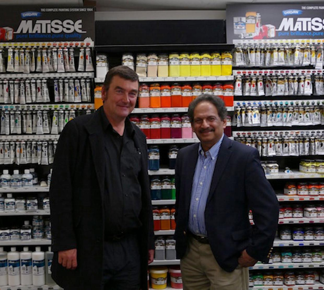 Subramanian and Matisse in paint store