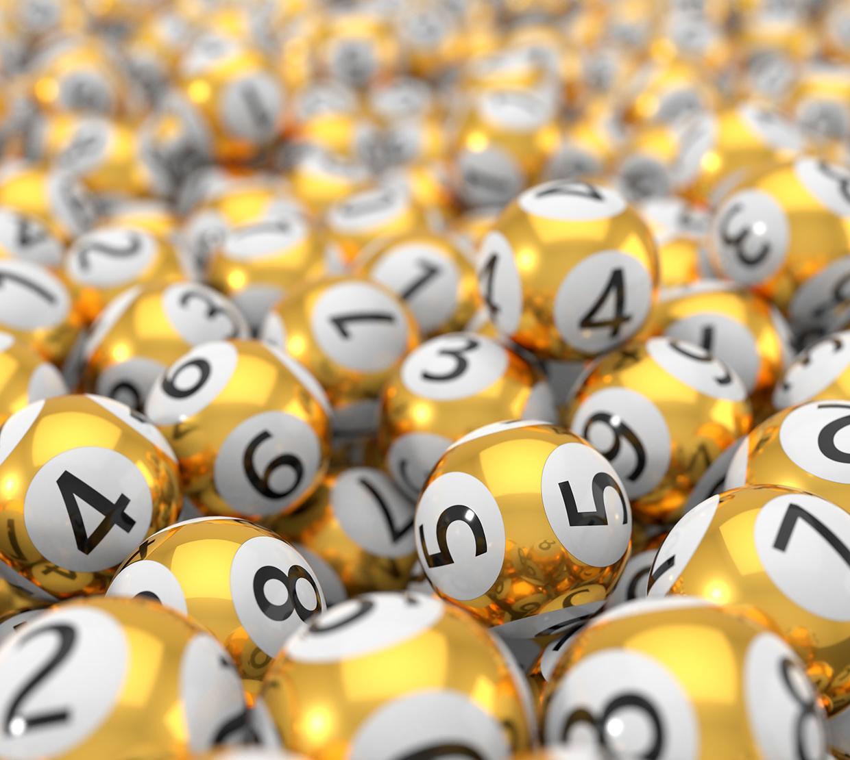 Pile of golden lottery balls