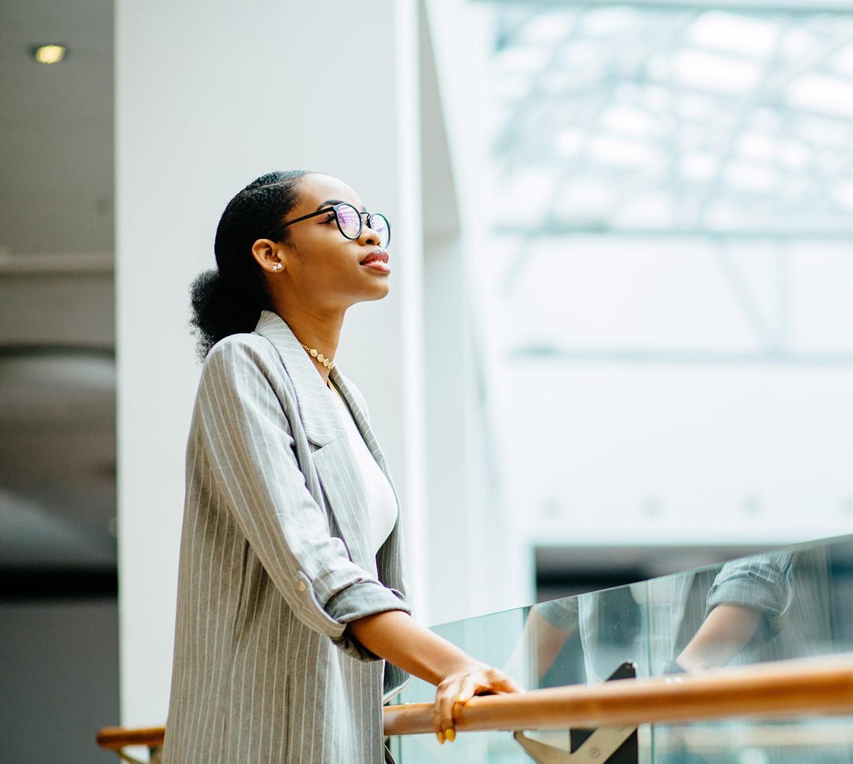 woman gazing into skylight