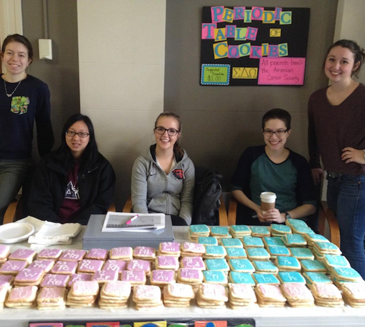 Sigma delta omega students selling cookies in Kidder