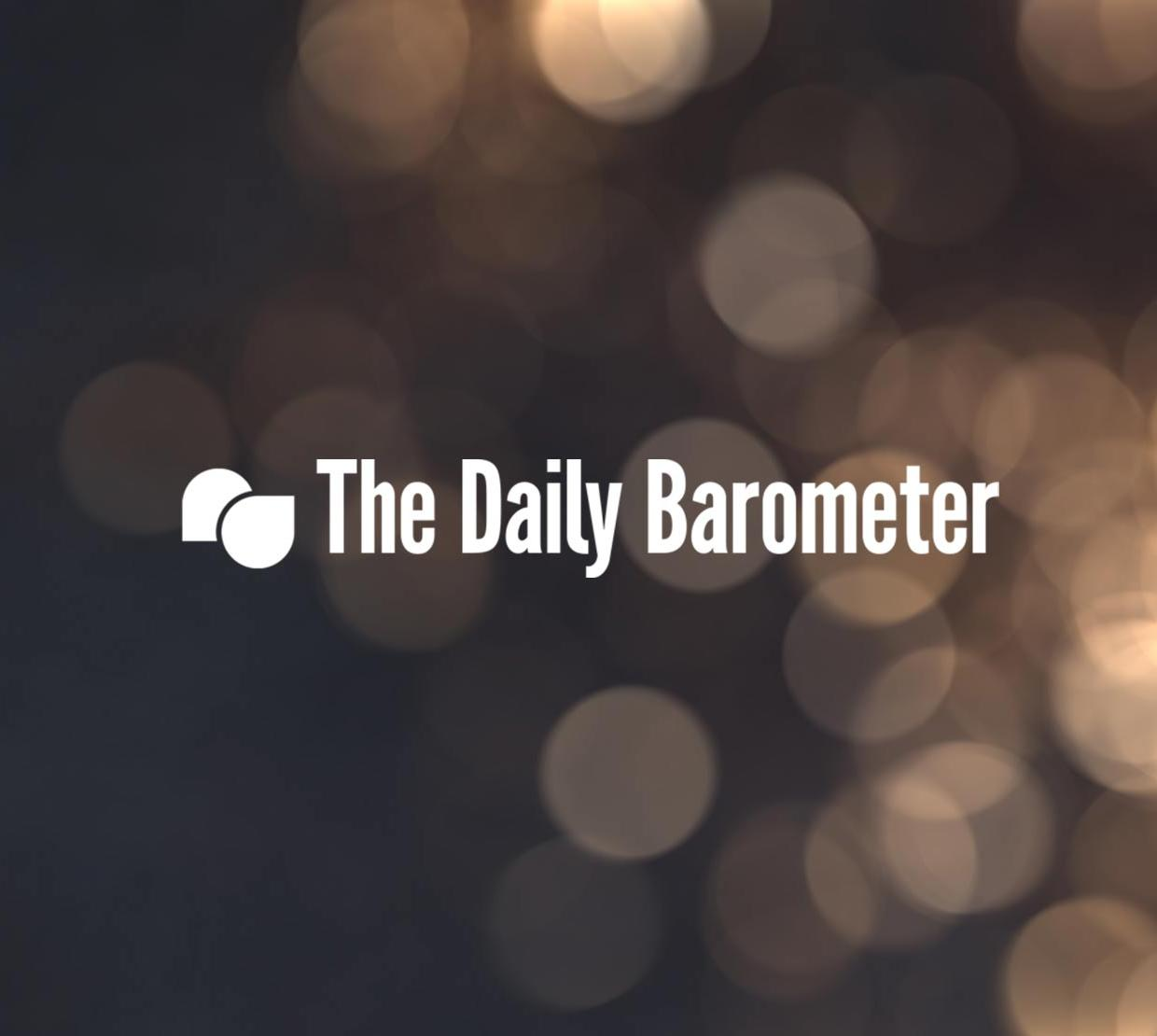 The Barometer logo above brown light texture