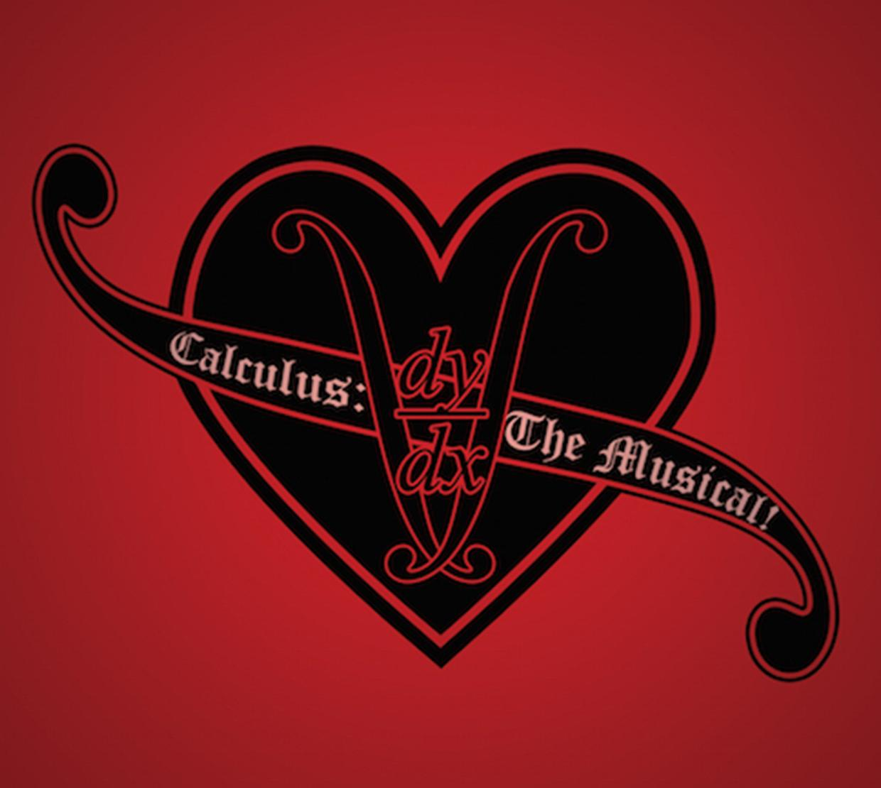Calculus the musical logo with black and red heart and banner