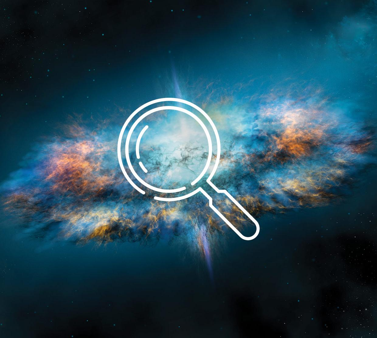 Magnifying glass icon above galaxy