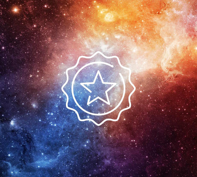 Star icon above vibrant galaxy