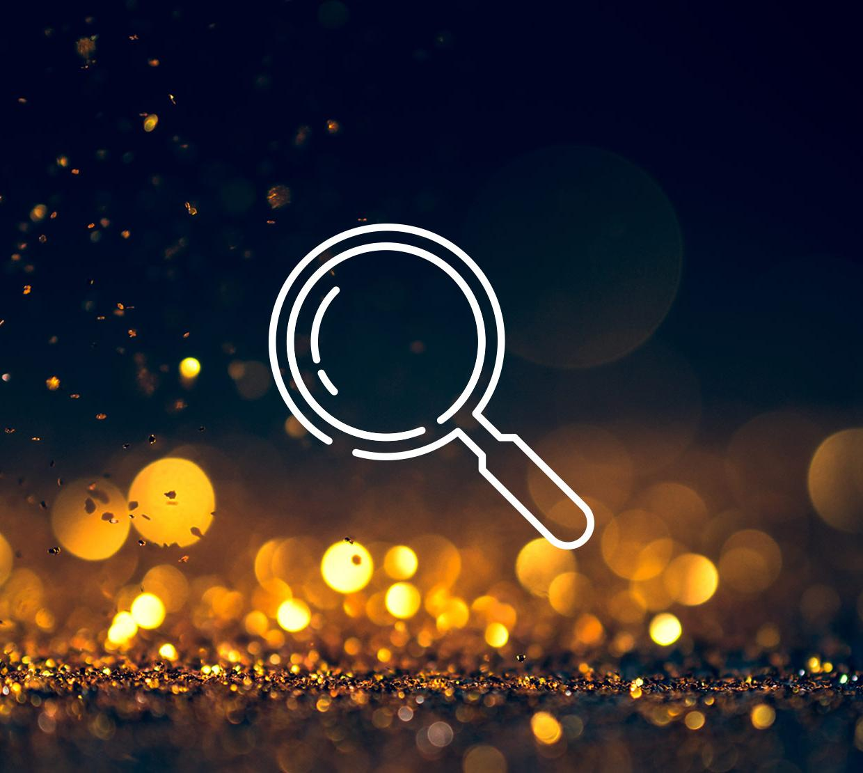Magnifying glass icon above light texture
