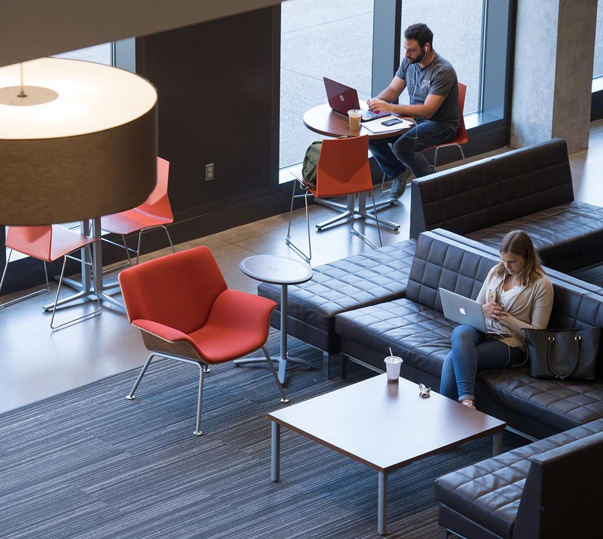 students working at desks in Austin Hall