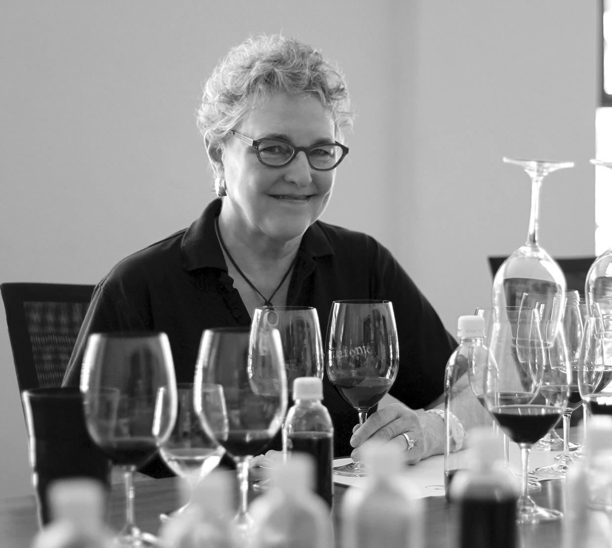 black and white photo of Zelma Long wine tasting