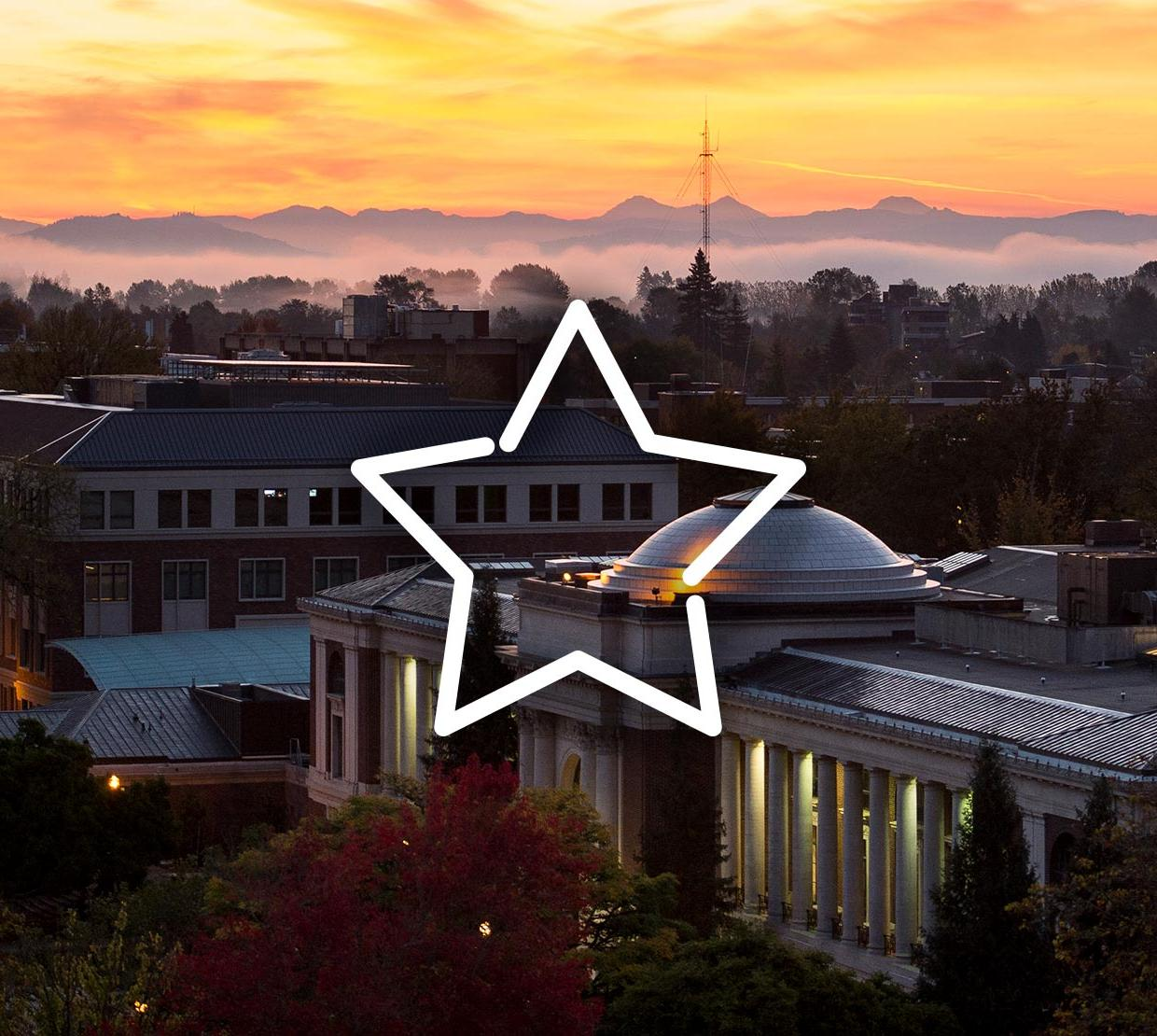 Star icon in front of Memorial Union at sunset