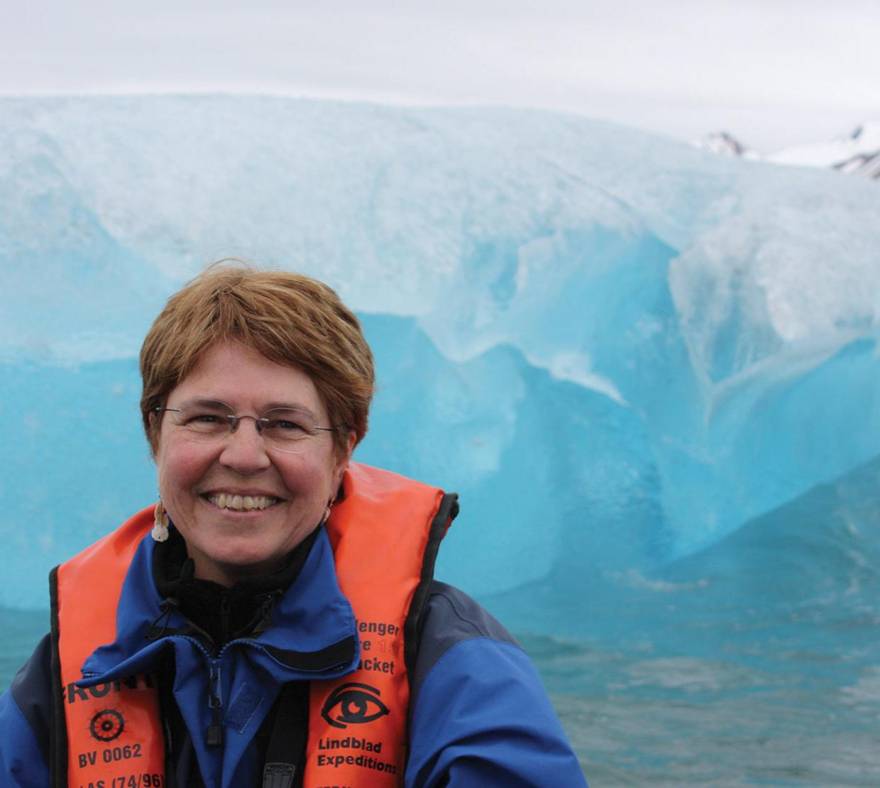 Jane Lubchenco in front of ice glacier