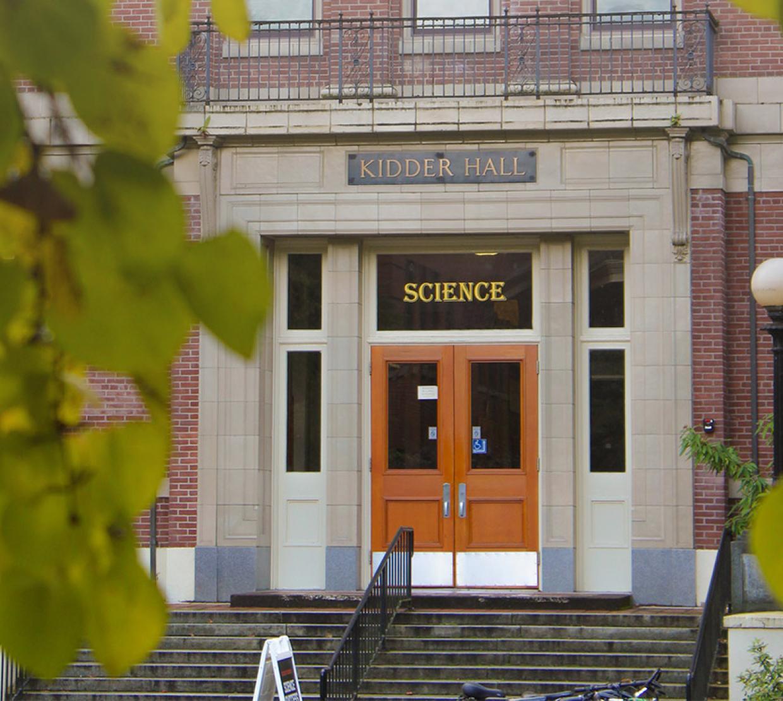 Photo of Kidder Hall's front door