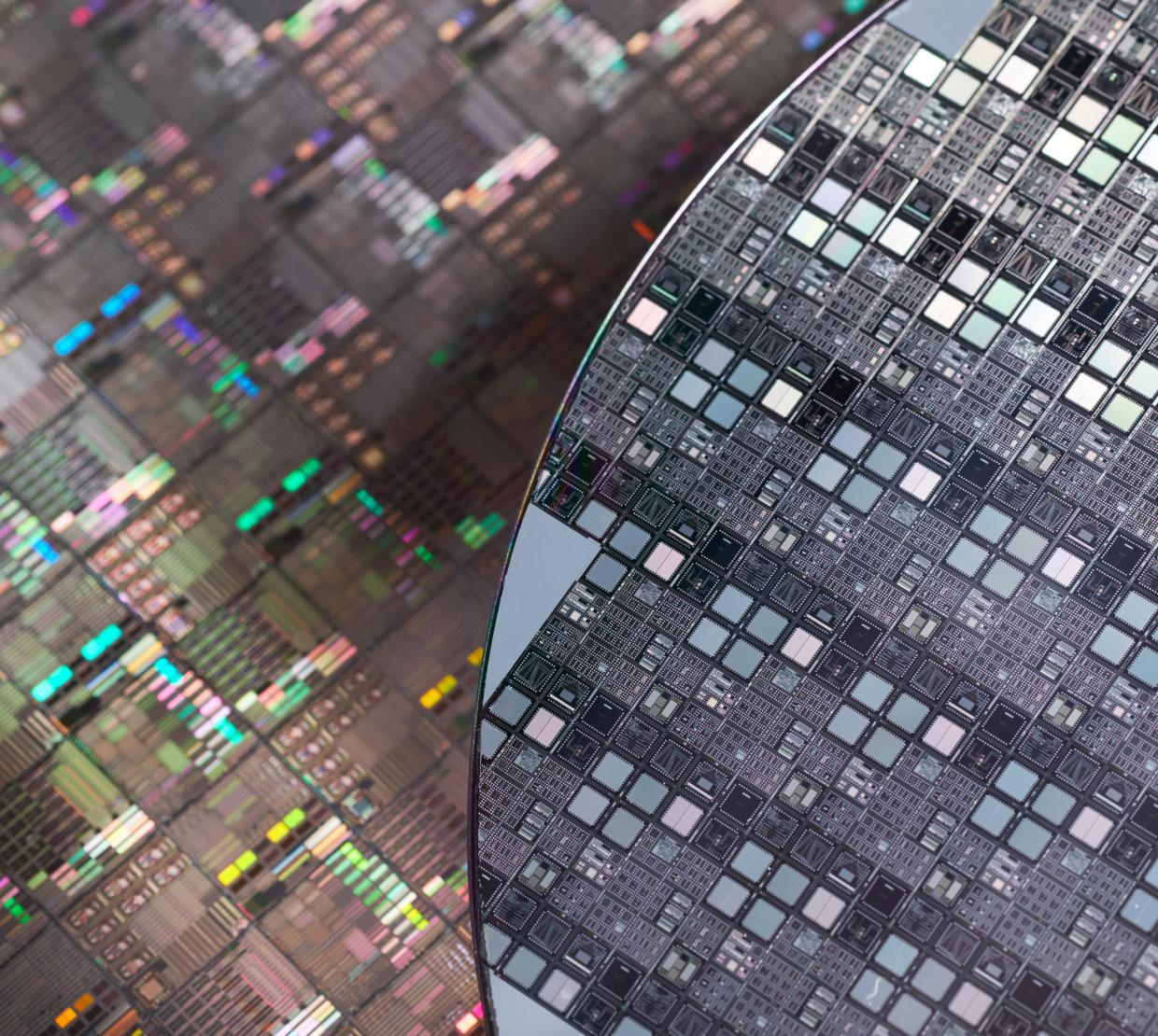 Macro image of Silicon wafers