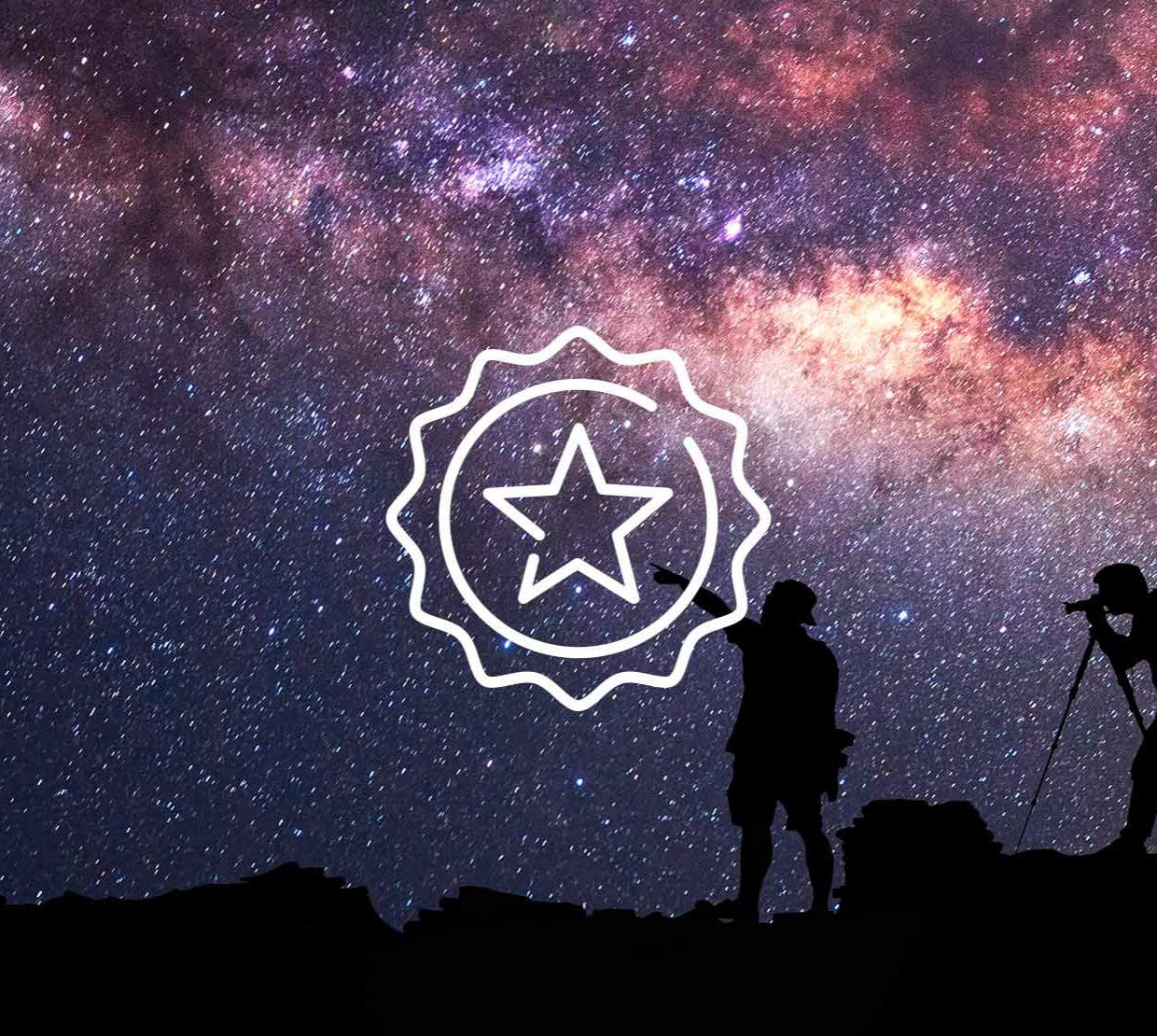 Star icon above starry night sky with two silhouettes of explorers