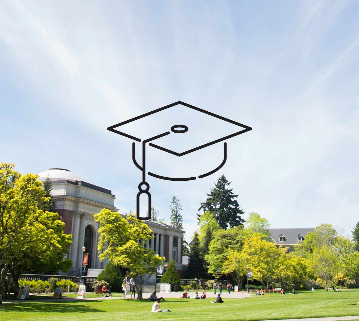 Graduation cap icon above image of the Memorial Union on a bright sunny day