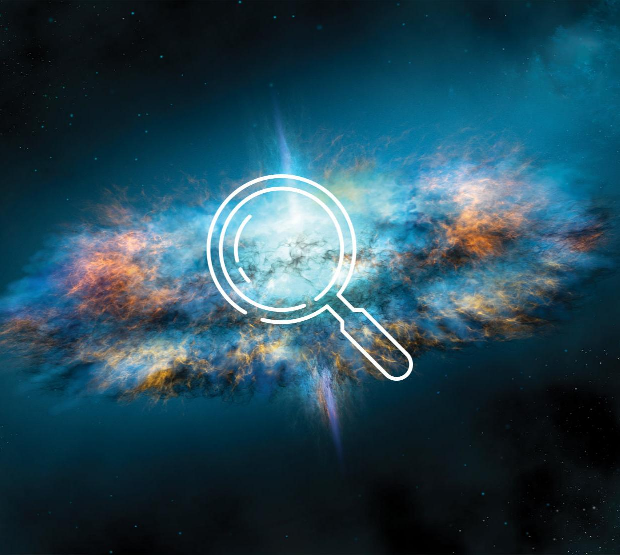 Magnifying glass icon above image of galaxy