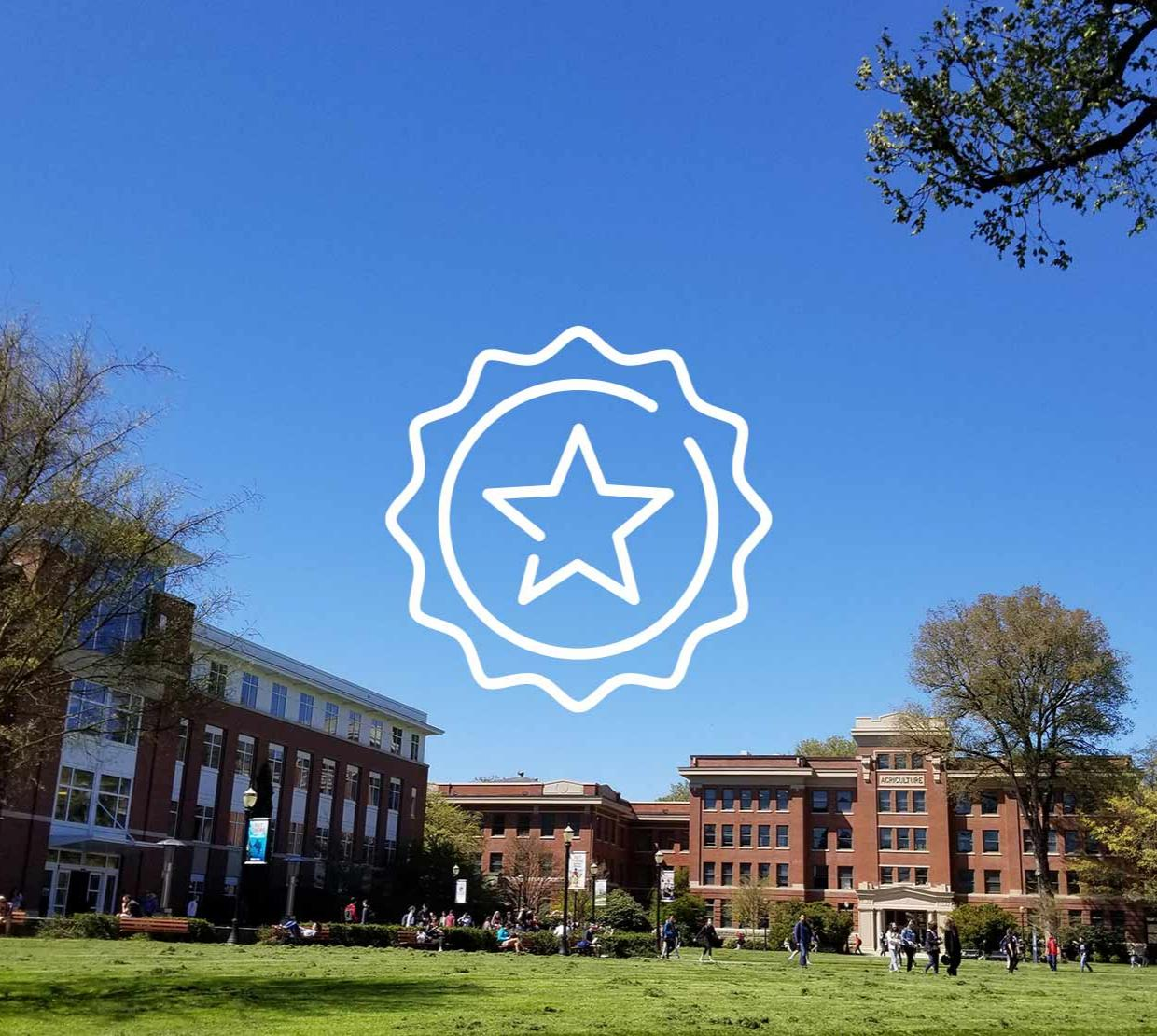 star icon above image of Memorial Union