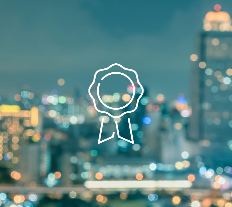 Ribbon icon above cityscape texture