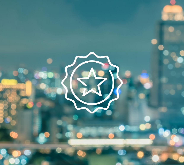 star icon above cityscape texture