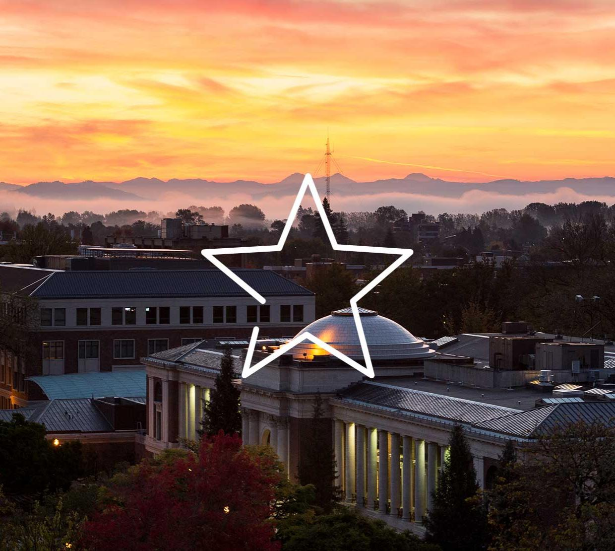 star icon above aerial shot of the Memorial Union at sunset