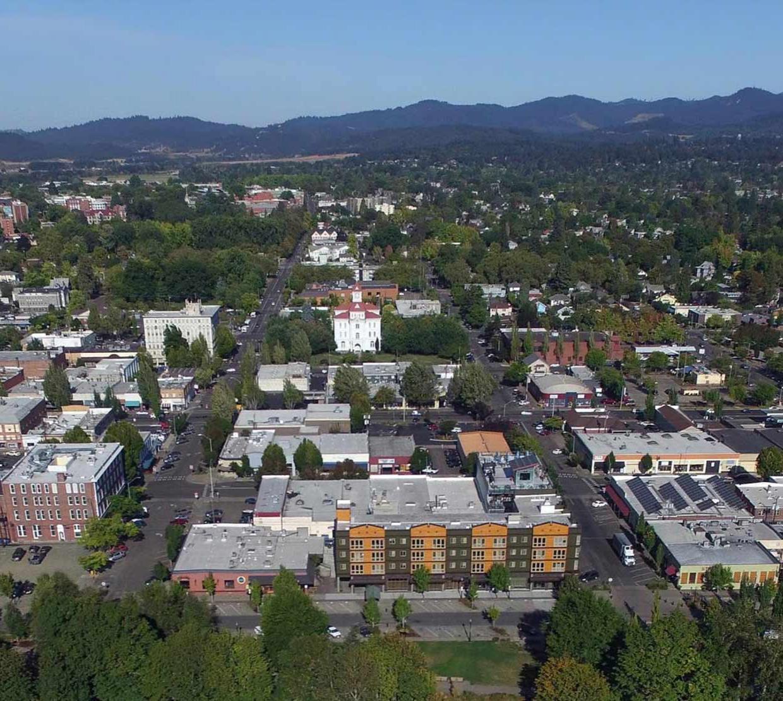 Aerial shot of Corvallis, Oregon.